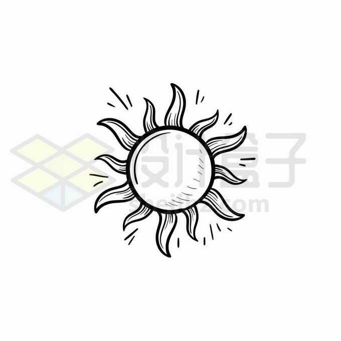 火辣辣的太阳晴天天气预报图标手绘线条插画4319847矢量图片免抠素材免费下载