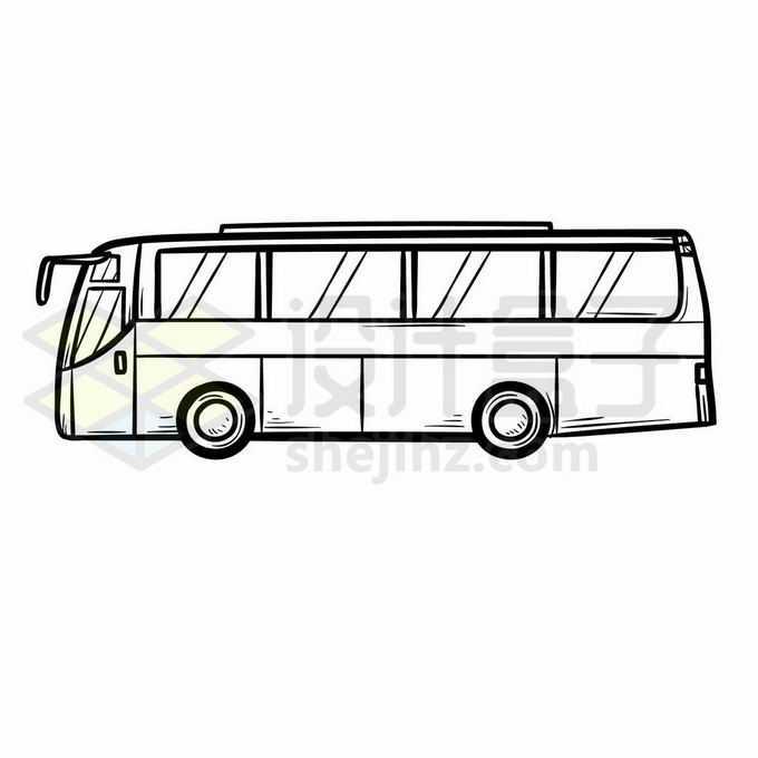 大巴车侧视图手绘线条插画7563304矢量图片免抠素材免费下载