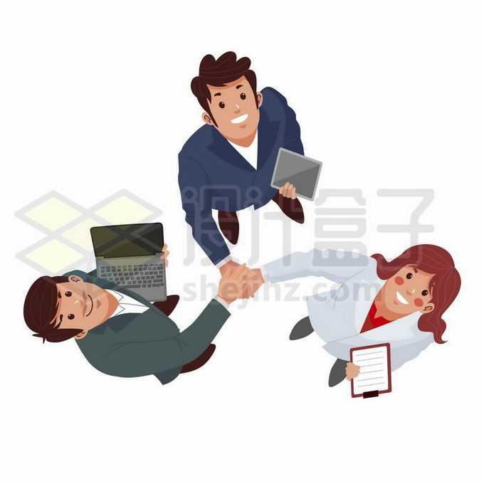 3个卡通商务人士握手团结合作加油打气抬头仰望天空姿势6380136矢量图片免抠素材免费下载
