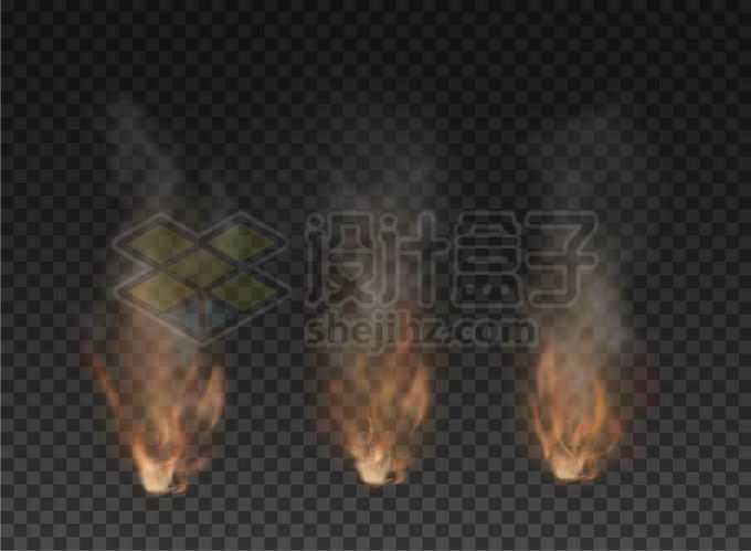 3款逼真的烟雾冒烟火焰冒火效果4137093矢量图片免抠素材免费下载