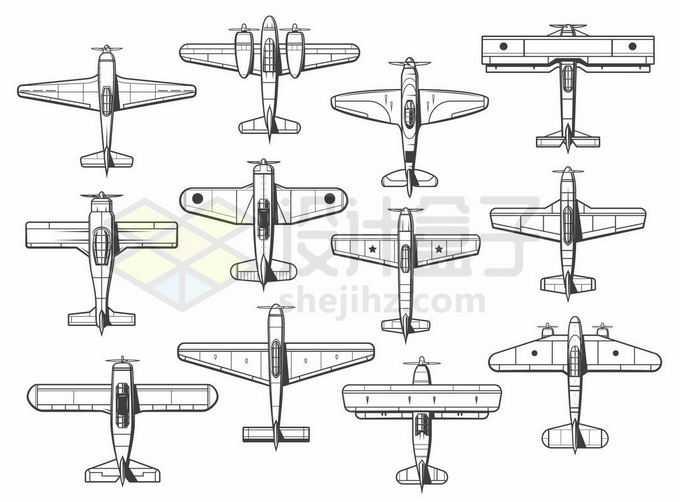 各种二战时期的飞机线稿俯视图2186457矢量图片免抠素材免费下载