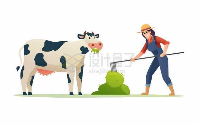 卡通农民正在给奶牛喂草料4517471矢量图片免抠素材免费下载
