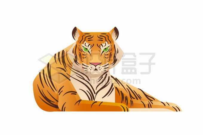 趴在地上虎视眈眈的大老虎彩绘插画8833354矢量图片免抠素材免费下载