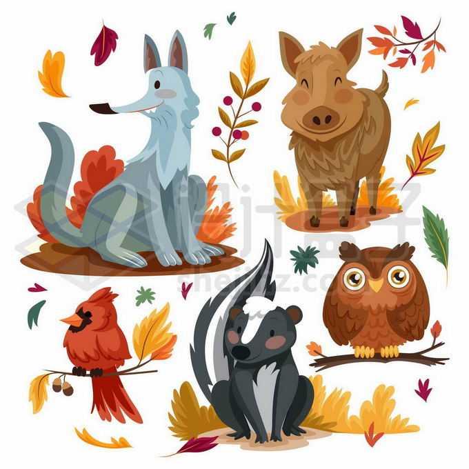 卡通狐狸野猪小鸟狗獾猫头鹰等野生动物5757597矢量图片免抠素材免费下载