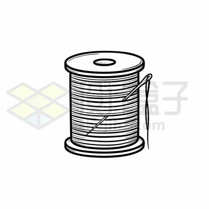 缝衣针和线团缝纫线针线活儿手绘线条插画7518087矢量图片免抠素材免费下载