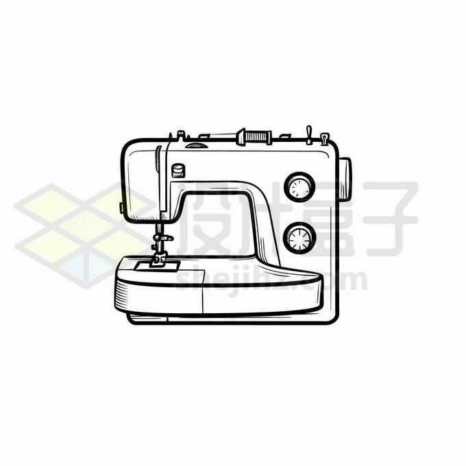 缝纫机手绘线条插画9530921矢量图片免抠素材免费下载