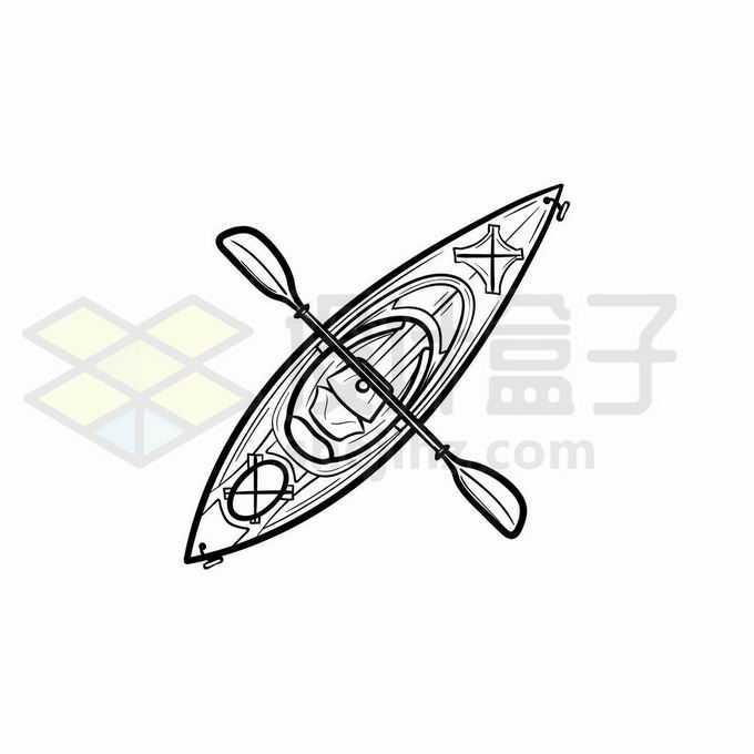 皮划艇手绘线条插画4911759矢量图片免抠素材免费下载