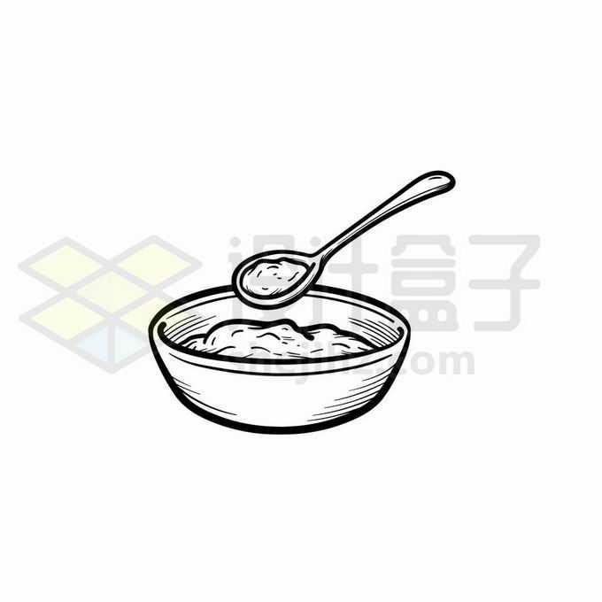 勺子从碗里挖食物手绘线条插画5305874矢量图片免抠素材免费下载