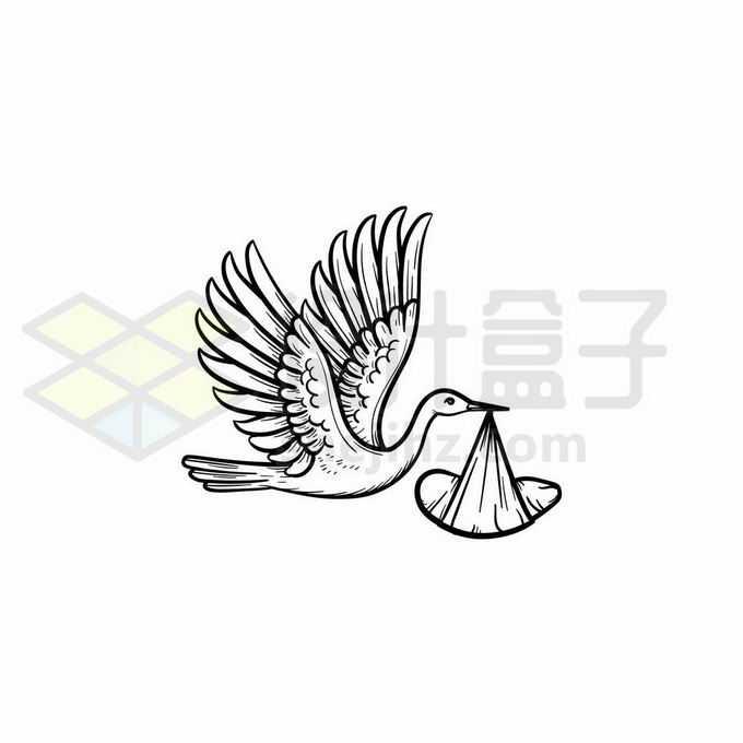 送子仙鹤手绘线条插画3940695矢量图片免抠素材免费下载