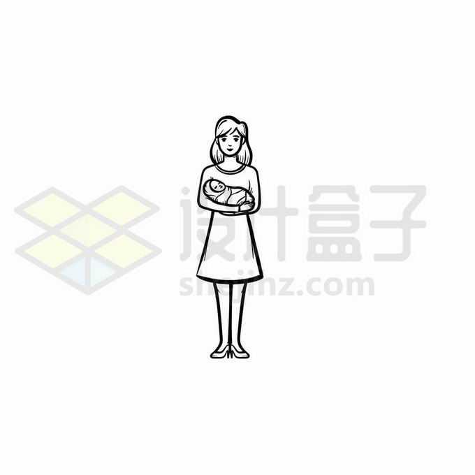 妈妈抱着婴儿宝宝手绘线条插画7615715矢量图片免抠素材免费下载