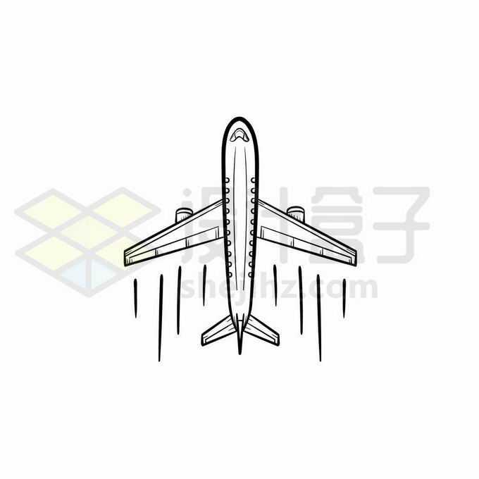 飞行中的客机手绘线条插画2608955矢量图片免抠素材免费下载