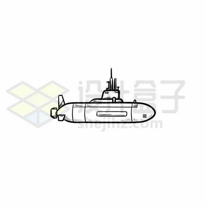 卡通潜水艇手绘线条插画4300752矢量图片免抠素材免费下载