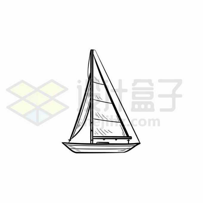 一艘帆船手绘线条插画7685718矢量图片免抠素材免费下载