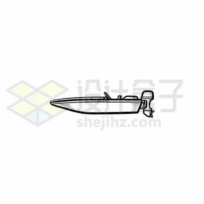 一艘汽艇手绘线条插画3510788矢量图片免抠素材免费下载