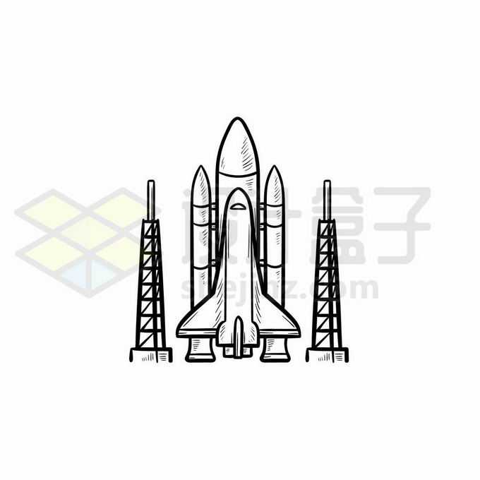 在航天发射场等待升空的航天飞机手绘线条插画4730842矢量图片免抠素材免费下载
