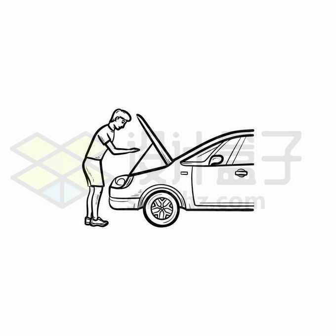 男人打开汽车引擎盖维修汽车手绘线条插画9120903矢量图片免抠素材免费下载