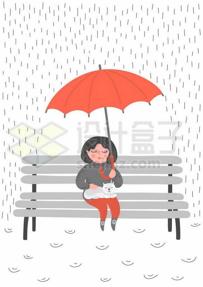 女孩撑伞坐在长椅上抱着猫咪挡雨4162781矢量图片免抠素材免费下载