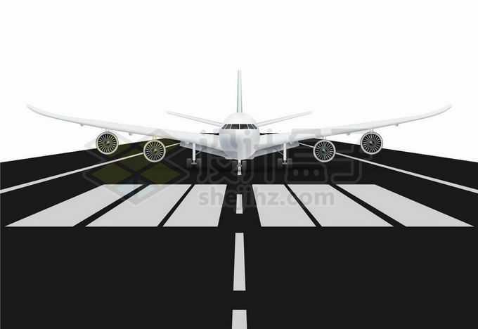 机场在跑道上等待起飞的大型客机飞机8076471矢量图片免抠素材免费下载