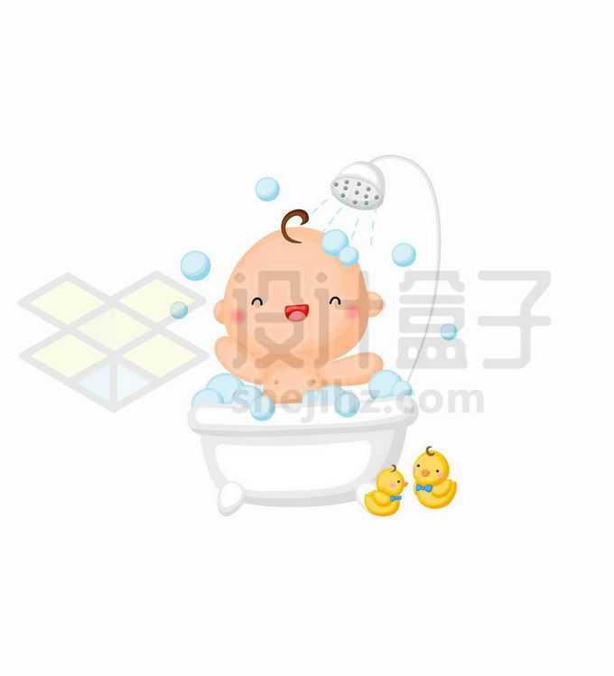 卡通婴儿宝宝正在洗澡9911474矢量图片免抠素材免费下载