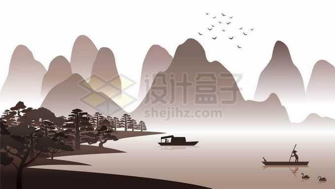 中国水墨画风格远山和湖泊风景5446984矢量图片免抠素材免费下载