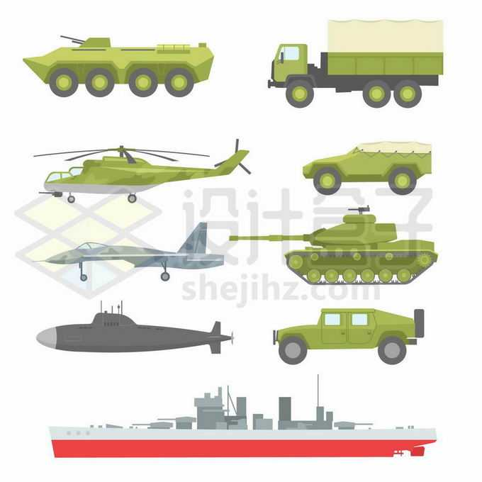 装甲车军用卡车直升机战斗机坦克潜水艇和军舰等军事装备3059369矢量图片免抠素材免费下载