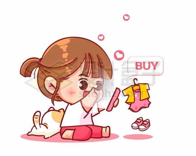 超可爱卡通女孩在手机上买买买购物9266776矢量图片免抠素材免费下载