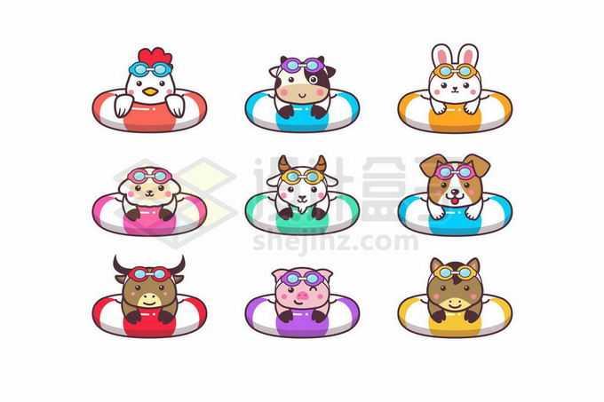 9款小鸡小牛小兔子小羊小狗小猪小驴卡通动物趴在游泳圈上3419713矢量图片免抠素材免费下载