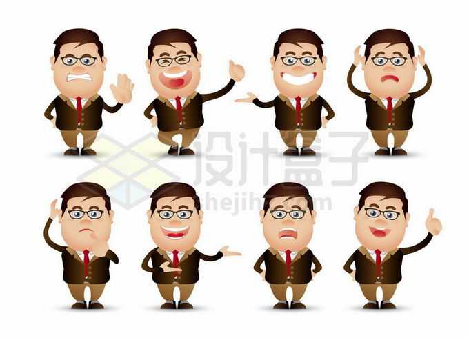 8款卡通大头老板商务人士表情包3750968矢量图片免抠素材免费下载