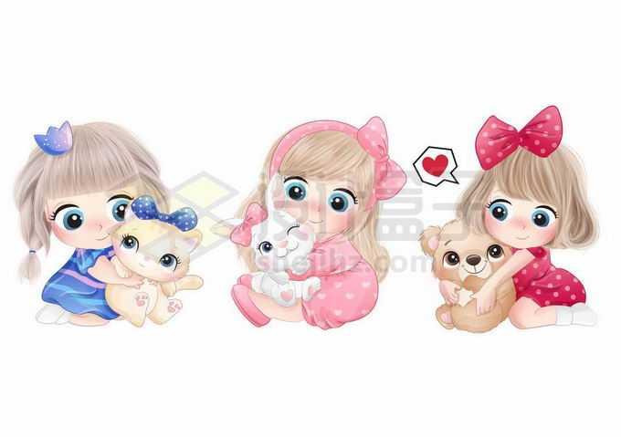 3款超可爱的卡通女孩粉色小公主正在玩玩具4357162矢量图片免抠素材免费下载