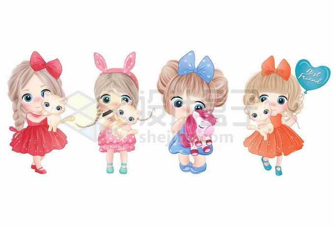 4款超可爱的卡通女孩漂亮小公主正在玩玩具1801909矢量图片免抠素材免费下载