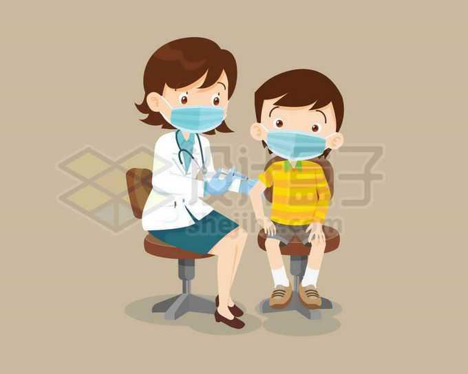 卡通女医生给男孩打针注射疫苗1628052矢量图片免抠素材免费下载