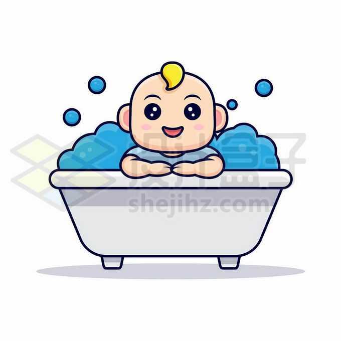 卡通婴儿宝宝坐在浴缸中洗澡8732595矢量图片免抠素材免费下载