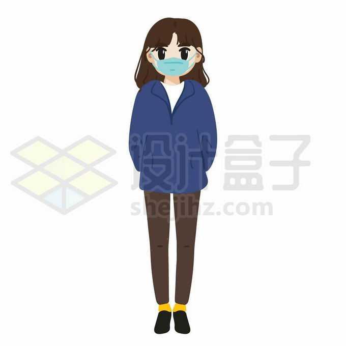 戴着口罩的卡通女孩背着手站立7165939矢量图片免抠素材免费下载