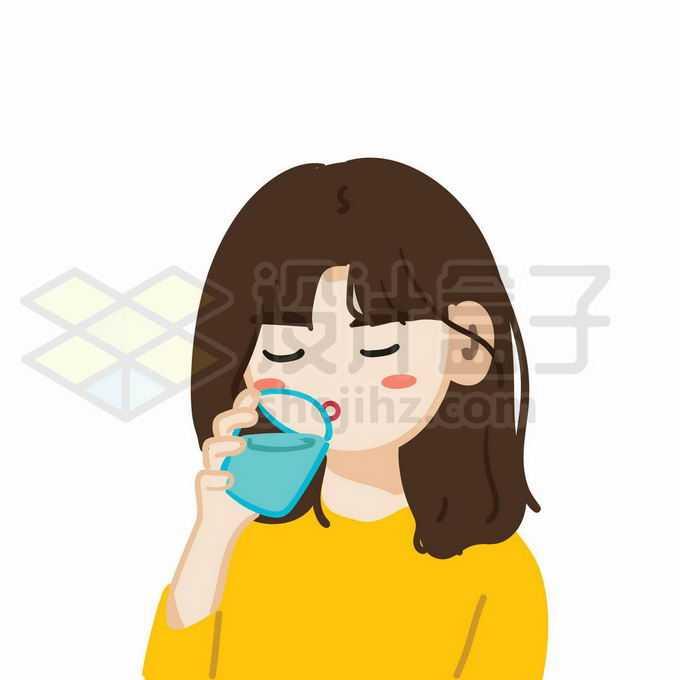 卡通女孩正在用杯子喝水1423882矢量图片免抠素材免费下载