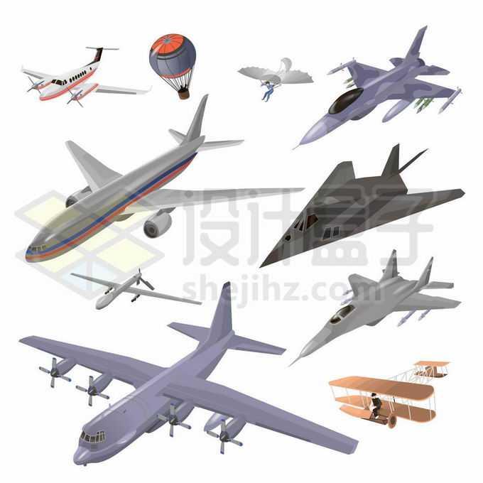F16战斗机F117隐形战机大型客机和世界上第一架飞机等各种飞行器3147622矢量图片免抠素材免费下载