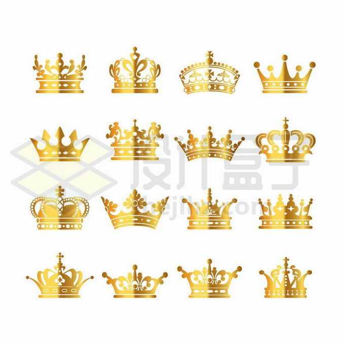 16款金色金属光泽皇冠王冠图案6174370矢量图片免抠素材免费下载