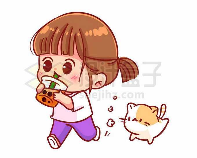 卡通女孩一边喝珍珠奶茶一边跑猫咪跟着跑3482804矢量图片免抠素材免费下载