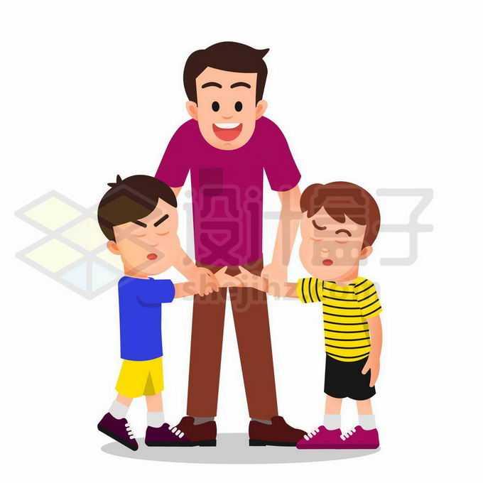 卡通老师让吵架的两个小朋友握手言和和好如初8396630矢量图片免抠素材免费下载