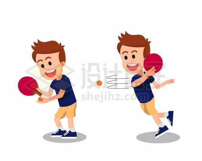 卡通男孩正在打乒乓球1737351矢量图片免抠素材免费下载