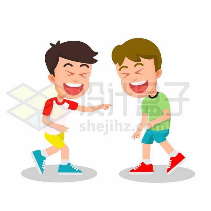两个卡通男孩笑得肚子疼哈哈大笑5315304矢量图片免抠素材免费下载