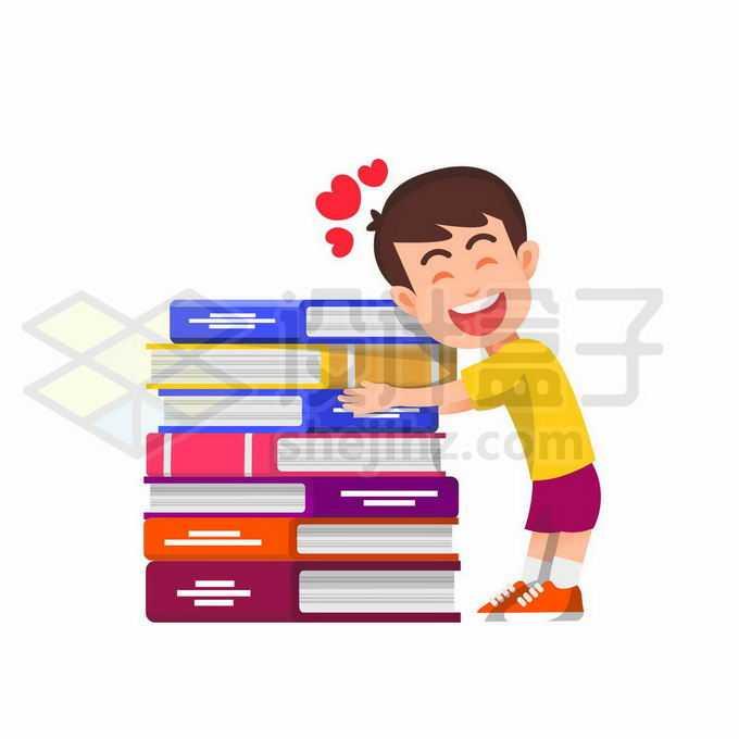卡通学霸抱着厚厚的书本喜欢学习和上学2990171矢量图片免抠素材免费下载