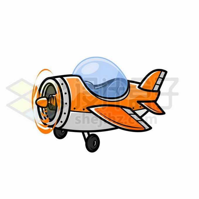 超可爱的橙色卡通飞机5313655矢量图片免抠素材免费下载