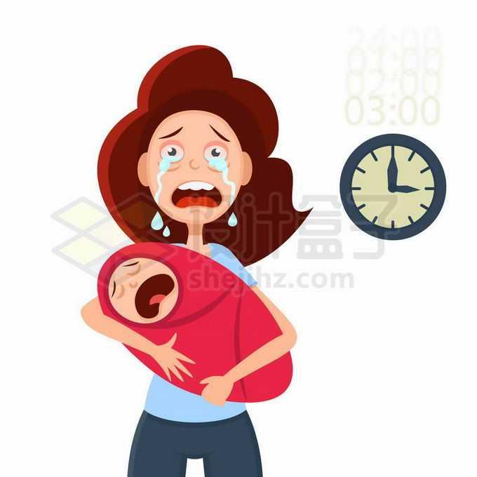 小儿半夜啼哭吵得新手妈妈无法睡觉而崩溃7708943矢量图片免抠素材免费下载