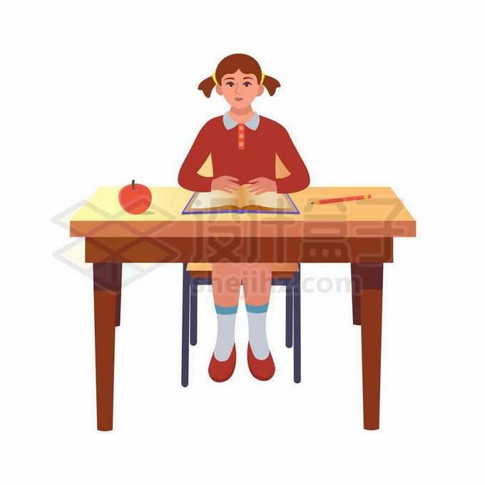 卡通女孩端正的坐在课桌前认真听老师讲课2917476矢量图片免抠素材免费下载