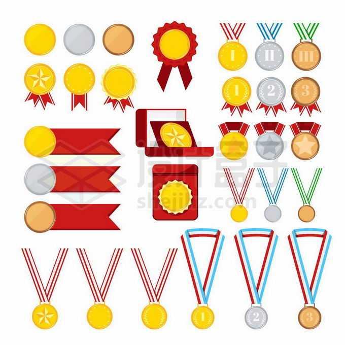 各种各样的奖牌奖章奥运会金牌银牌铜牌勋章1863003矢量图片免抠素材免费下载