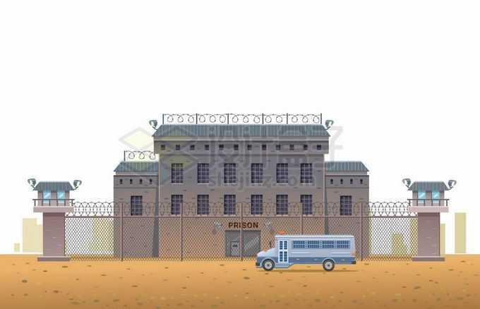 戒备森严的监狱门口停着一辆囚车9835473矢量图片免抠素材免费下载