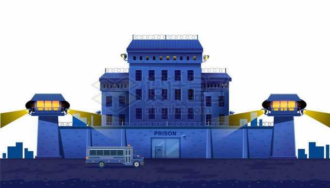 夜晚戒备森严的监狱门口停着一辆囚车4901604矢量图片免抠素材免费下载