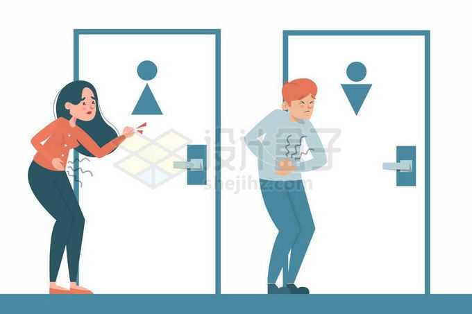 女人男人内急拉肚子想要上厕所急的团团转敲门4585510矢量图片免抠素材免费下载