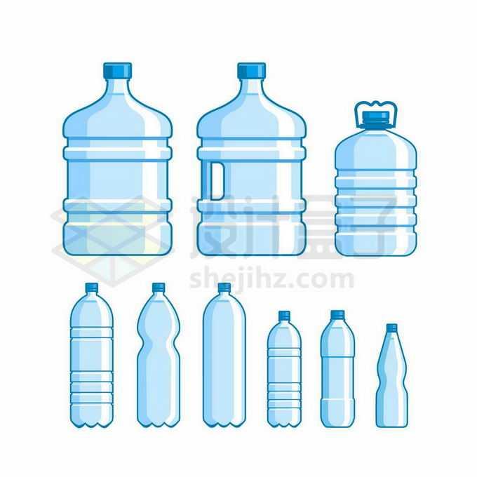 各种各样的蓝色纯净水桶瓶装水饮用水6866828矢量图片免抠素材免费下载