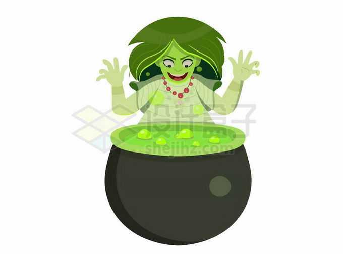 邪恶的巫婆正在炼制毒药9825127矢量图片免抠素材免费下载